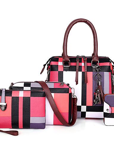 cheap 11.11 - Women's Bags Best Seller-CONTRAST COLOR PU Bag Set BUY1 FREE 3  4 Pieces Purse Set Sky Blue / Blue / Red