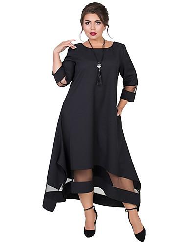 levne Šaty velkých velikostí-Dámské Základní Elegantní Swing Šaty - Jednobarevné, Síťka Patchwork Asymetrické