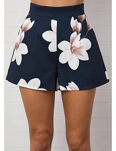 בגדי ריקוד נשים בסיסי משוחרר חיתוך נעל / שורטים מכנסיים - פרחוני / פרח / הדפסת 3D טלאים / דפוס מותניים גבוהים פול M L XL