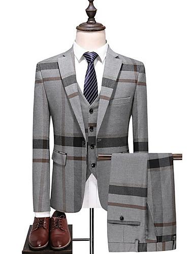 abordables Costume / Tailleur-Homme Grandes Tailles costumes, Rayé / Bloc de Couleur Col de Chemise Polyester Bleu / Gris / Mince