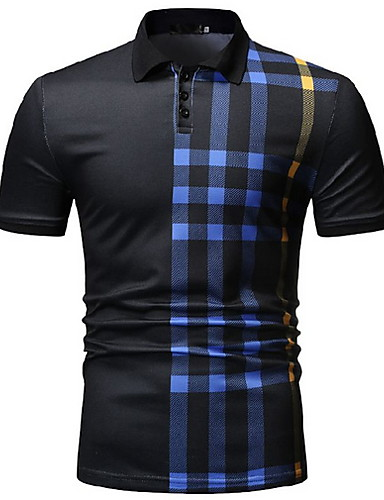 cheap Top Sellers-Men's Striped Polo Daily Wear Shirt Collar White / Black / Navy Blue / Short Sleeve