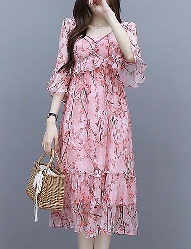 preiswerte Damen Kleider-Damen Elegant A-Linie Kleid Geometrisch Midi V-Ausschnitt Staubige Rose