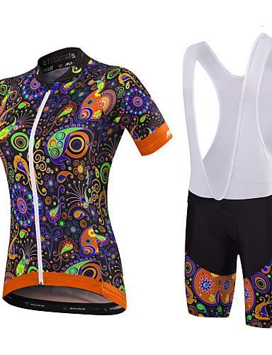 povoljno Odjeća za vožnju biciklom-Malciklo Žene Kratkih rukava Biciklistička majica s kratkim tregericama Crn Orange+White Obala Cvjetni / Botanički Veći konfekcijski brojevi Bicikl Sportska odijela Prozračnost Pad 3D Quick dry