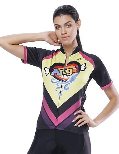 cheap Cycling-ILPALADINO Women's Short Sleeve Cycling Jersey Black Novelty Bike Jersey Top Road Bike Cycling UV Resistant Reflective Strips Back Pocket Sports Clothing Apparel