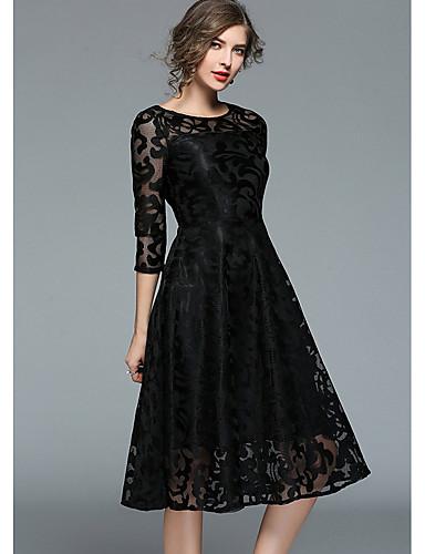 billige Sorte festkjoler-A-linje Besmykket Knelang Blonder Cocktailfest Kjole med Blondeinnlegg av LAN TING Express