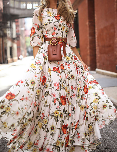 cheap White Dresses-Women's Floral Long Maxi White Dress With Sleeve 2020 Ruffle Casual Spring Holiday Vacation Swing Flower Lantern Sleeve Flared Print S M