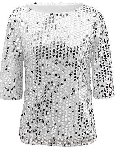 billige Dametopper-Store størrelser T-skjorte Dame - Ensfarget, Paljetter Gatemote Klubb Svart