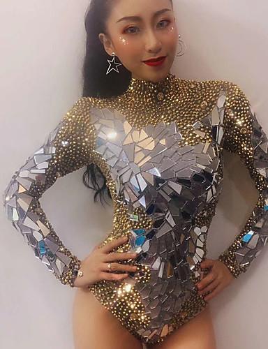 preiswerte Tanzkleidung-Exotische Tanzkleidung Strass Bodysuit / Club Kostüm Damen Leistung Elasthan Kristalle / Strass / Pailetten Langarm Gymnastikanzug / Einteiler