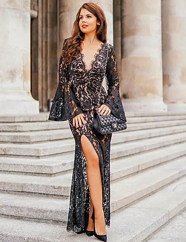 Жен. А-силуэт Платье Глубокий V-образный вырез Макси