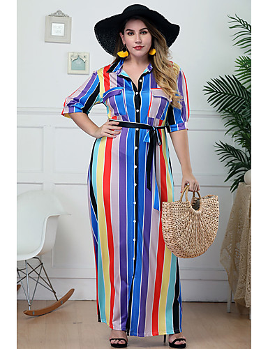 voordelige Grote maten jurken-Dames Grote maten Standaard Street chic Slank Schede Overhemd Jurk - Gestreept, Print Overhemdkraag Midi
