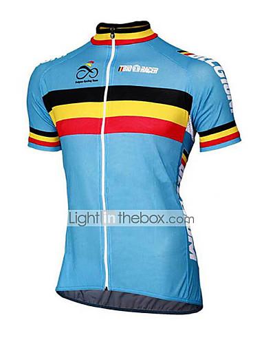 povoljno Odjeća za vožnju biciklom-21Grams Belgija Državne zastave Muškarci Kratkih rukava Biciklistička majica - Plava Bicikl Majice UV otporan Prozračnost Ovlaživanje Sportski Terilen Brdski biciklizam biciklom na cesti Odjeća