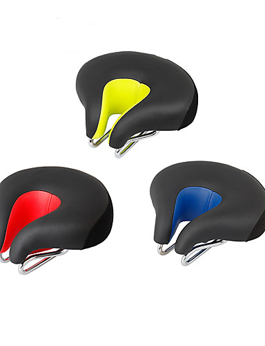 billige Essensielt til sykling-Sykkelsete Ekstra Bred Komfort Hynner Hult design PU Leather silica Gel Sykling Vei Sykkel Fjellsykkel Rød Grønn Blå