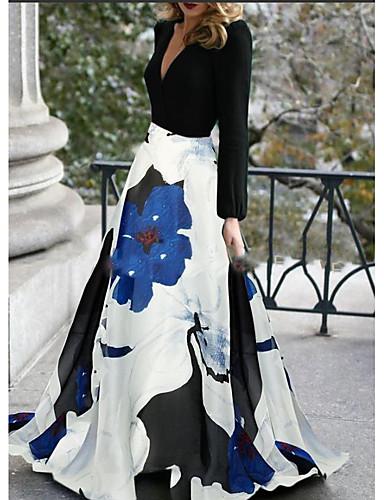 preiswerte Lange Kleider-A-Linie V-Ausschnitt Pinsel Schleppe Polyester Formeller Abend Kleid mit durch LAN TING Express