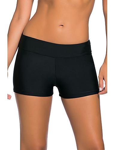 billige Bikinier og damemote-Dame Sporty Svart Boy Leg Nederdeler Badetøy - Ensfarget S M L Svart