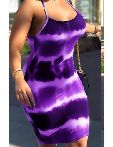 preiswerte Sexy Kleider-Damen Grundlegend T Shirt Kleid Geometrisch Knielang