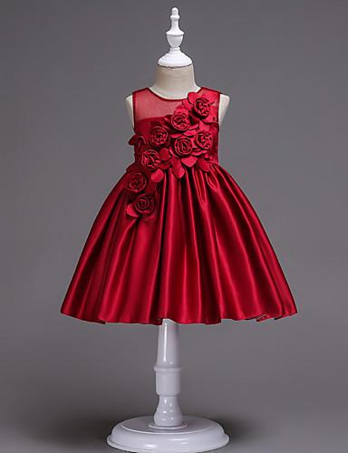נסיכה באורך  הברך שמלה לנערת הפרחים  - כותנה / סאטן / טול ללא שרוולים עם תכשיטים עם אפליקציות / חגורה על ידי LAN TING Express