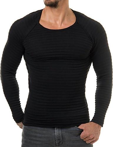 billige Herregensere og -cardigans-Herre Ensfarget Langermet Tynn Pullover Genserjumper, Rund hals Svart M / L / XL
