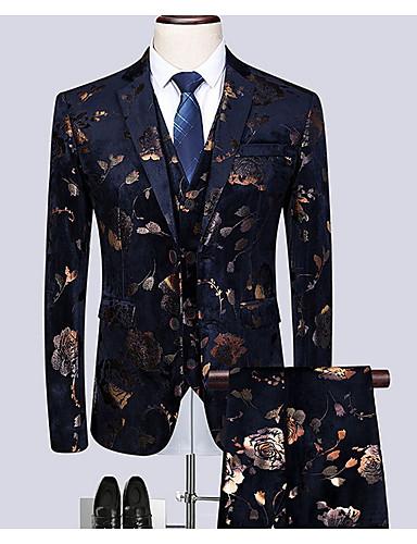 levne Pánské blejzry a saka-Pánské Větší velikosti Obleky, Geometrický Košilový límec Polyester Černá / Štíhlý