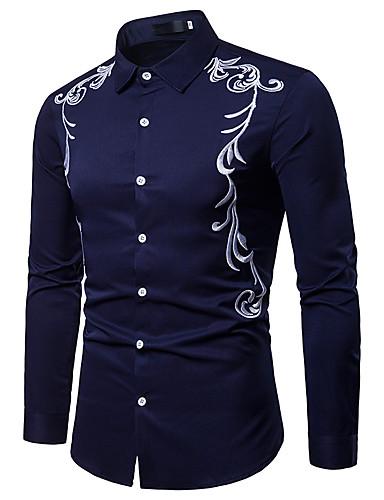levne Vánoce-Pánské - Barevné bloky / Etno Vintage / Elegantní EU / US velikost Košile, Výšivka Bavlna Stojáček Bílá / Dlouhý rukáv