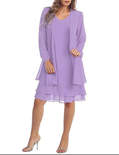 levne Šaty velkých velikostí-Dámské Větší velikosti Dvoudílné Šaty - Jednobarevné Nad kolena