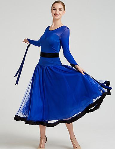 cheap Ballroom Dancewear-Ballroom Dance Dress Bow(s) Split Joint Women's Training Performance Long Sleeve Mesh Tulle Pleuche