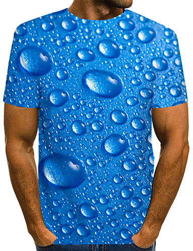 cheap Christmas Deals-Men's Daily Wear Club Street chic / Exaggerated EU / US Size T-shirt - Solid Colored / Polka Dot / 3D Print Round Neck Blue / Short Sleeve