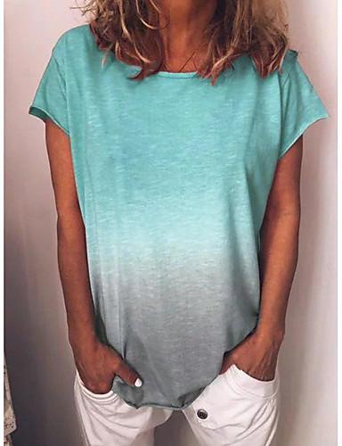 billige Dametopper-Store størrelser T-skjorte Dame - Fargeblokk, Trykt mønster Grunnleggende / Gatemote Gul