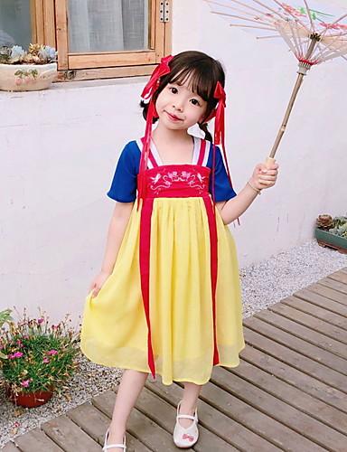 גזרת A באורך הקרסול שמלה לנערת הפרחים  - תערובת פולי וכותנה שרוולים קצרים צווארון מרובע עם ריקמה על ידי LAN TING Express