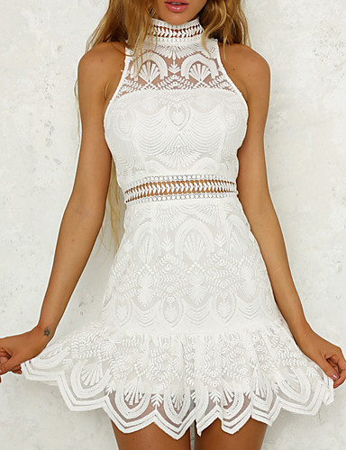 f0f9fc80e2f Lace White Sundress Sexy Women's Going out Mini Slim Sheath Sundress High  Waist Crew