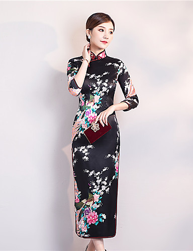 cheap Ethnic & Cultural Costumes-Adults Women's Chinese Style Chinese Style Cheongsam Qipao For Club Uniforms Poly / Cotton Blend Midi Cheongsam