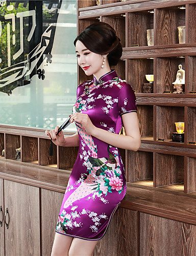 cheap Ethnic & Cultural Costumes-Adults Women's Chinese Style Chinese Style Cheongsam Qipao For Party & Evening Club Uniforms 100% Polyester Above Knee Cheongsam