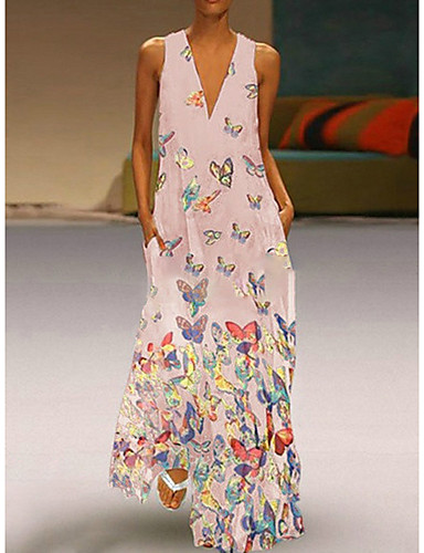 cheap Print Dresses-Women's A-Line Dress Maxi long Dress - Sleeveless Butterfly Animal Print Summer Deep V Plus Size Casual Vacation Beach 2020 White Purple Yellow Blushing Pink Light Blue S M L XL XXL XXXL XXXXL XXXXXL
