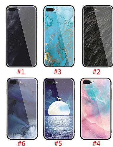 מארז iPhone / iPhone 8 פלוס תבנית / shockproof לכסות בחזרה השמים קשה מזג זכוכית עבור iPhone 7 / iPhone 6 פלוס / iPhone 6s / iPhone XS / iPhone XR / iPhone 8 / iPhone 7 פלוס