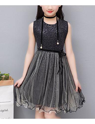 שמלה מעל הברך ללא שרוולים פאייטים אחיד / טלאים פעיל / מתוחכם בנות ילדים / כותנה
