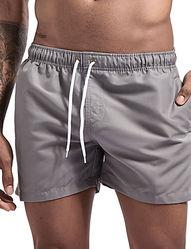cheap Wetsuits, Diving Suits & Rash Guard Shirts-Men's Swim Shorts Swim Trunks Nylon Swimwear Board Shorts Bottoms Breathable Quick Dry Short Sleeve Drawstring - Swimming Diving Beach Solid Colored Autumn / Fall Spring Summer / Micro-elastic