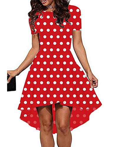 א-סימטרי דפוס, מנוקד - שמלה גזרת A בסיסי בגדי ריקוד נשים