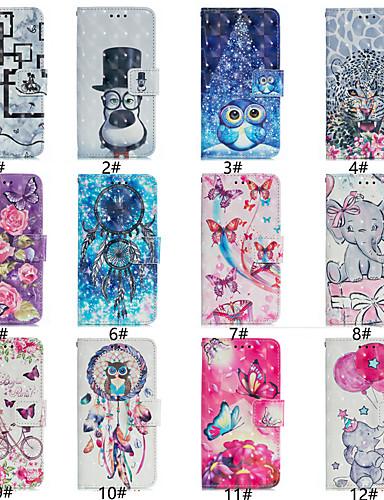 מגן עבור Samsung Galaxy J7 (2017) / J7 (2018) / J6 (2018) ארנק / מחזיק כרטיסים / נפתח-נסגר כיסוי מלא חיה / אנימציה / פרח קשיח עור PU