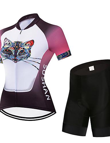 povoljno Odjeća za vožnju biciklom-Žene Kratkih rukava Biciklistička majica s kratkim hlačama Pink+White Životinja Crtani film Bicikl Sportska odijela Quick dry Sportski Životinja Brdski biciklizam biciklom na cesti Odjeća