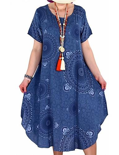 voordelige Grote maten jurken-Dames Grote maten Ruimvallend Tuniek Jurk - Tribal, Print Tot de knie