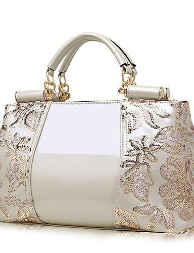 preiswerte Elegante Damen-Handtaschen-Damen Paillette / Reißverschluss PU Tasche mit oberem Griff Volltonfarbe Schwarz / Wein / Gold / Herbst Winter