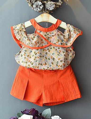 preiswerte Sommerurlaub Hot Sale-Kinder Mädchen Aktiv Street Schick Druck Patchwork Patchwork Druck Ärmellos Standard Kleidungs Set Orange