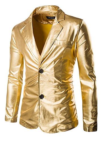 זהב / שחור / כסף אחיד גזרה רגילה פוליאסטר חליפה - פתוח Single Breasted Two-button