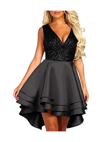 preiswerte Kentucky Derby 2020-Damen Party Elegant Skinny A-Linie Kleid - Rüsche Patchwork, Einfarbig Knielang Tiefes V Hohe Taillenlinie / Sexy