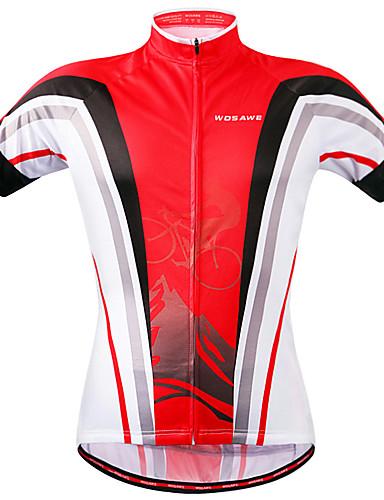 povoljno Biciklističke majice-WOSAWE Muškarci Žene Kratkih rukava Biciklistička majica Crveno crno Kolaž Bicikl Sportska majica Biciklistička majica Majice Brdski biciklizam biciklom na cesti Quick dry Sportski Poliester Odjeća