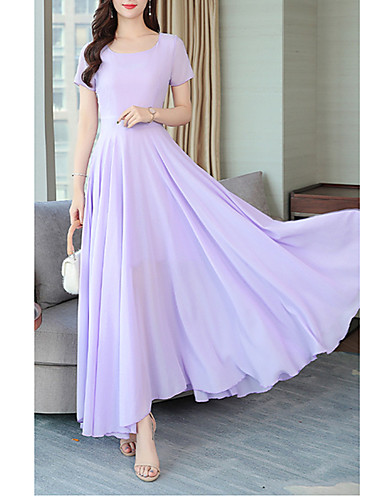 levne Maxi šaty-Dámské Šik ven Elegantní Swing Šaty - Jednobarevné, Plisé Maxi