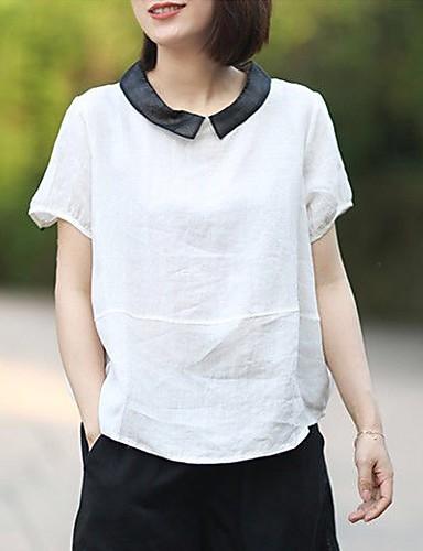 billige Dametopper-Skjortekrage Store størrelser Skjorte Dame - Ensfarget, Lapper Chinoiserie / Elegant Dusty Rose Hvit