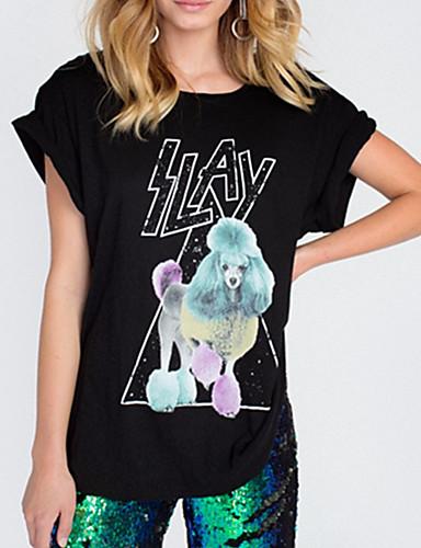 billige Dametopper-Løstsittende T-skjorte Dame - Dyr, Lapper Grunnleggende Svart