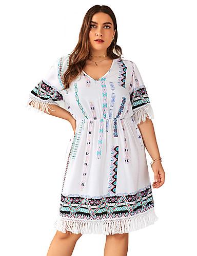 levne Šaty velkých velikostí-Dámské Elegantní Swing Šaty - Geometrický, Síťka Délka ke kolenům