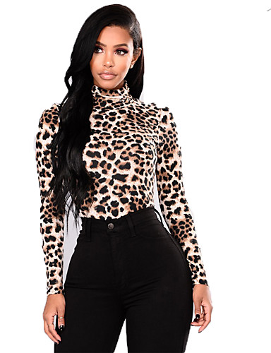 billige Dametopper-Dame Leopard Langermet Tynn Cardigan Genserjumper, Rullekrage Vår Brun S / M / L