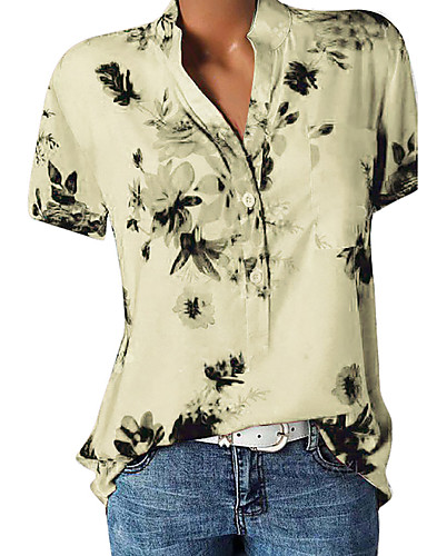 billige Skjorter til damer-V-hals Store størrelser Skjorte Dame - Geometrisk, Trykt mønster Beige